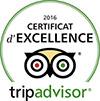 Cetificat d'excellence 2016 Trip Advisor pour Bourbon Parapente
